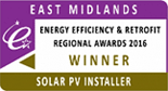 East Midlands Energy Efficiency & Retrofit Regional Awards 2016 - Winner - Solar PV Installer
