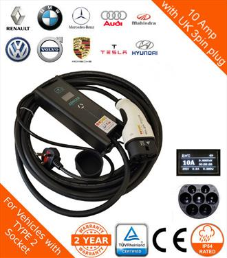 New ZEN - 10Amp 10Metre Type 2 (62196-2) to 3pin plug Portable EV Charger - Renault Zoe Compatible