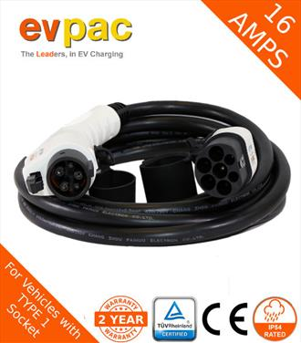 16Amp 5 Metre Type 1 (J1772) to Type 2 (62196-2) Straight EV Charging Cable