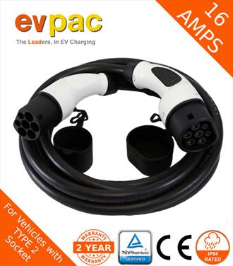 16Amp 5 Metre Type 2 (62196-2) to Type 2 (62196-2) Straight EV Charging Cable