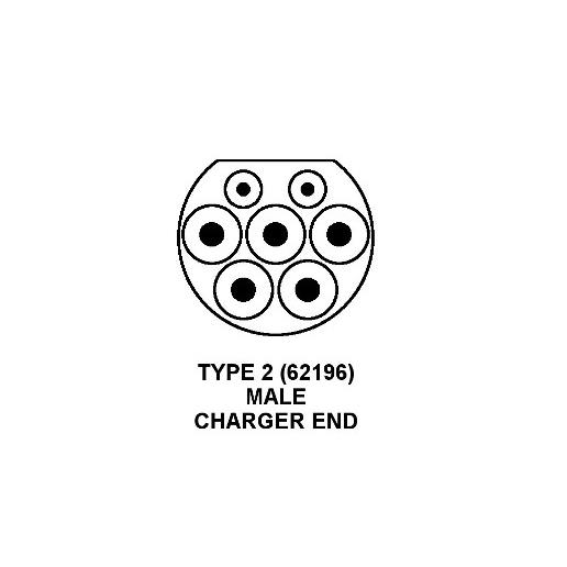 type 2 16amp  male  plug for ev charging lead